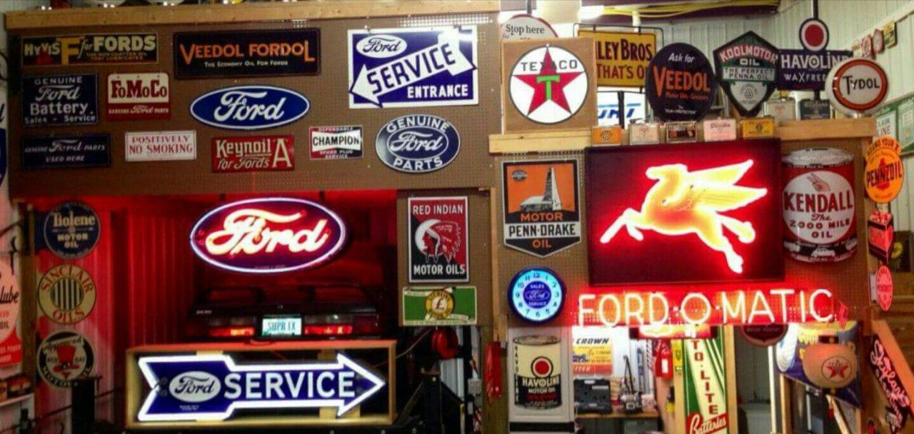 hanging vintage signs